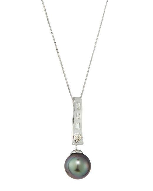 Belpearl | 14k White Gold Diamond & Tahitian Pearl Pendant Necklace | Lyst