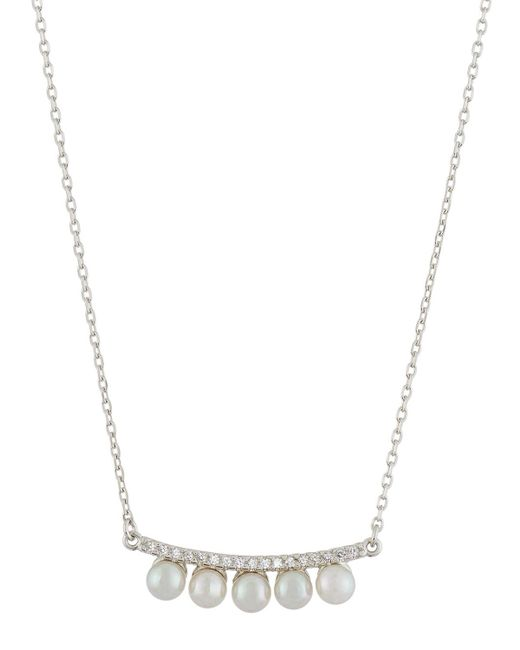Majorica | White Curved Crystal & Pearl Bar Pendant Necklace | Lyst
