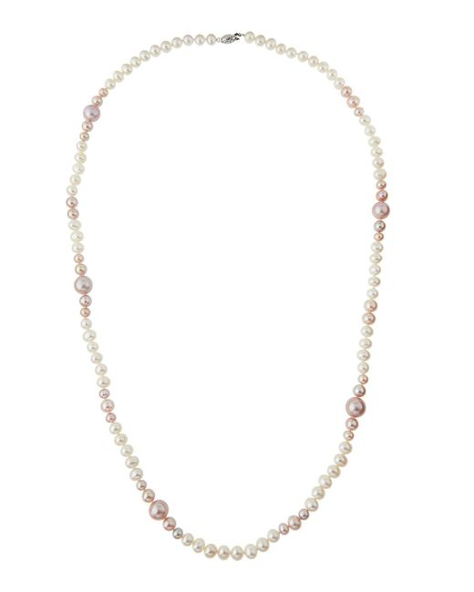Belpearl   Long Pink & White Freshwater Pearl Necklace   Lyst