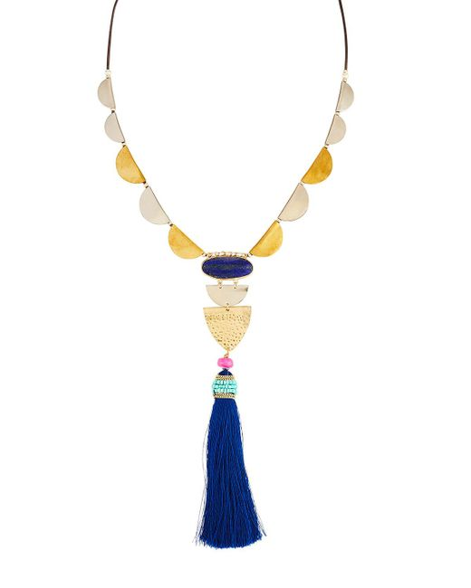 Nakamol - Blue Mixed Metal & Tassel Necklace - Lyst
