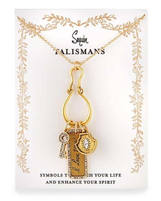 Sequin | Metallic I Love You Talisman Charm Necklace | Lyst
