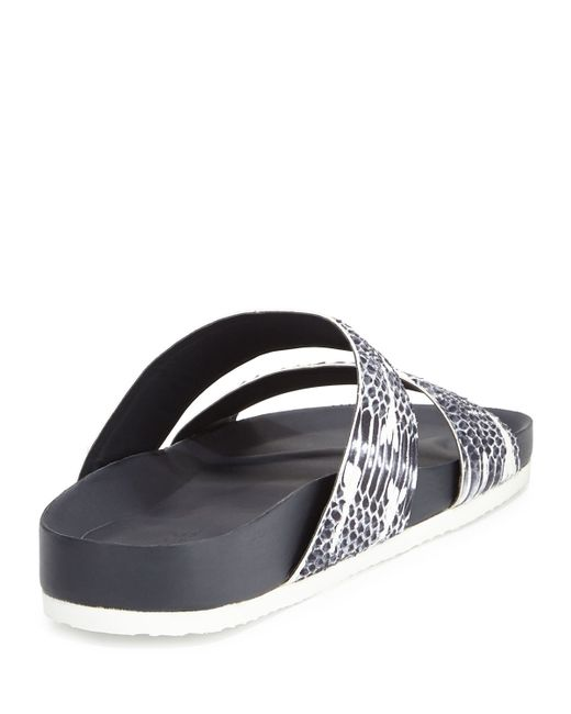 Vince Orion Snake Embossed Double Band Slide Sandal In
