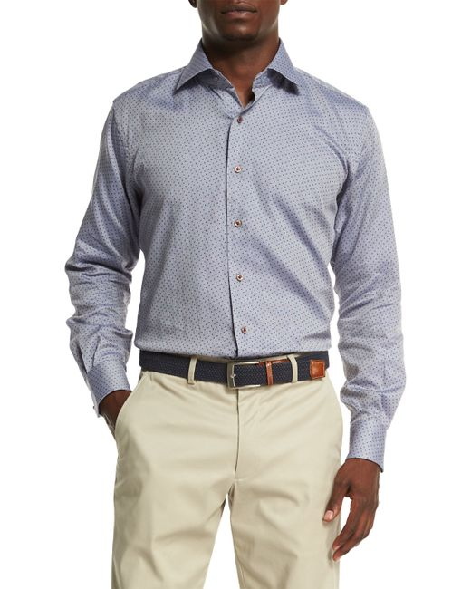 Peter millar firenze printed oxford sport shirt in blue for T shirt printing oxford
