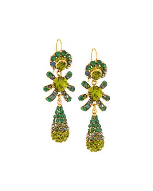 Jose & Maria Barrera | Green Golden Pave Crystal Triple-drop Earrings | Lyst