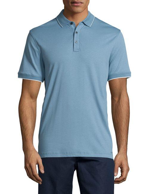 Michael Kors Short Sleeve Jersey Knit Polo Shirt In Blue