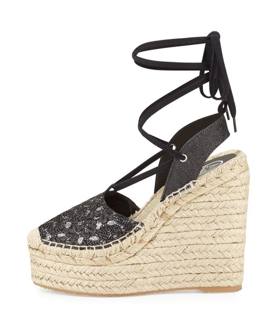 Ash Tessa Lace Up Espadrille Wedge Sandal In Black Save