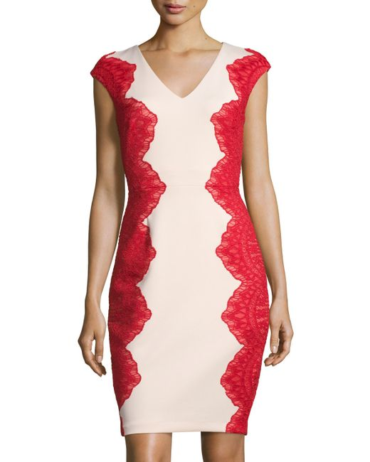 Jax Cap-sleeve Lace-panel Dress in Red (RED SHELL) - Save 25% | Lyst