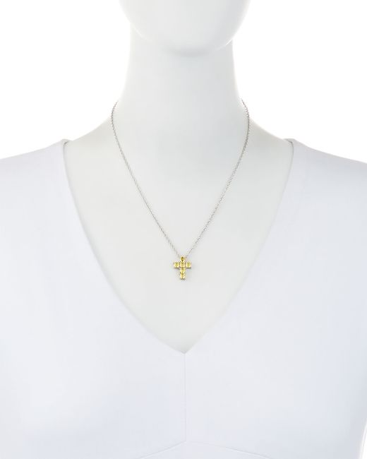 Fantasia by Deserio | Metallic Asscher-cut Cz Cross Pendant Necklace | Lyst