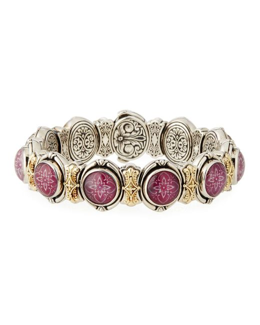 Konstantino | Multicolor Ornate Silver & 18k Round Ruby & Quartz Doublet Link Bracelet | Lyst