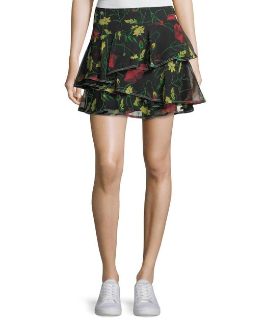 Jason Wu - Black Floral-print Ruffled Silk Miniskirt - Lyst
