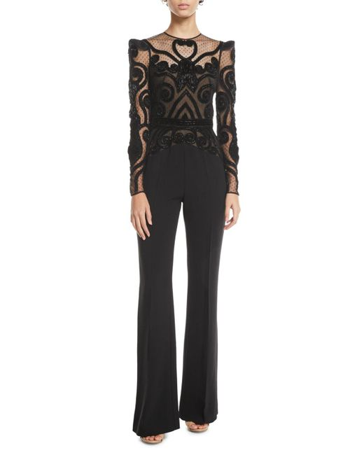 Zuhair Murad - Black Long-sleeve Lace-bodice Crepe Cady Flared-leg Jumpsuit - Lyst
