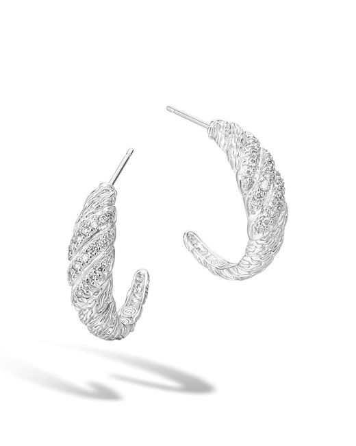 John Hardy - Metallic Classic Chain Sterling Silver Diamond Pave Hoop Earrings - Lyst