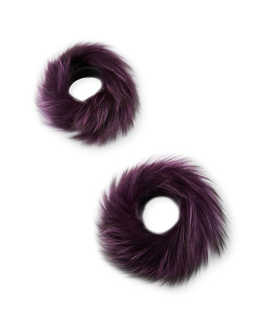 Turquoise Fox Fur Cuffs: Gorski Silver Fox Fur Cuffs In Green