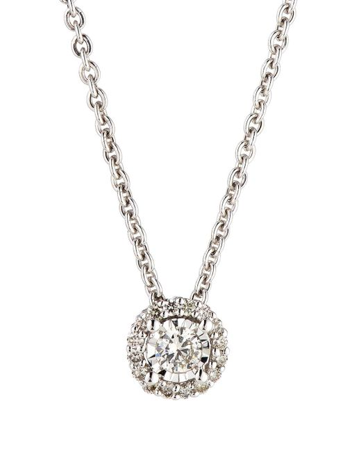 Neiman Marcus - 14k White Gold Round Diamond Solitaire Pendant Necklace - Lyst