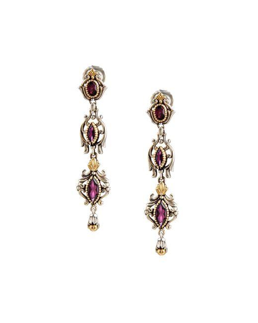 Konstantino | Purple Artemis Rhodolite Triple-drop Earrings | Lyst