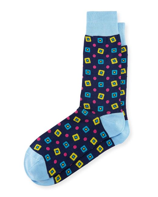 Bugatchi | Blue Diamond-print Cotton-blend Socks for Men | Lyst