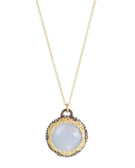 Armenta | Purple Old World Round Chalcedony & Diamond Pendant Necklace | Lyst