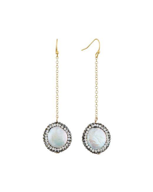 Nakamol - White Freshwater Pearl & Crystal Dangle Earrings - Lyst