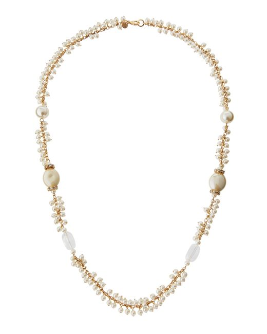 Lydell NYC | Metallic Long Golden Shaky Pearly Beaded Necklace | Lyst