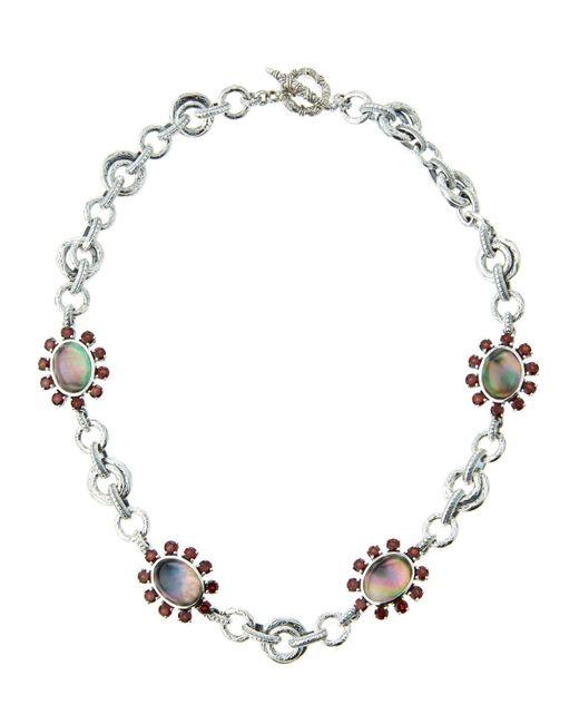 Stephen Dweck | Metallic Verona Mother-of-pearl Doublet & Garnet Floral Station Necklace | Lyst