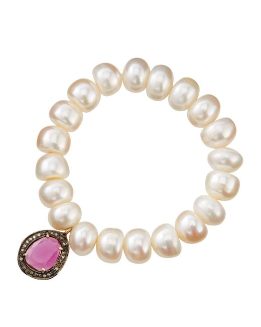 Bavna | White Pearl Beaded Diamond Station Bracelet | Lyst