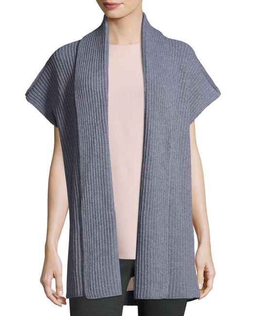 Knitting Pattern For Shawl Collar Vest : Lafayette 148 new york Shawl-collar Rib-knit Vest in Gray Lyst