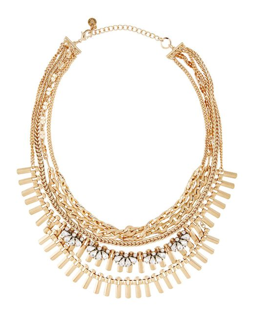 Lydell NYC | Metallic Golden Multi-strand Crystal Chain Necklace | Lyst