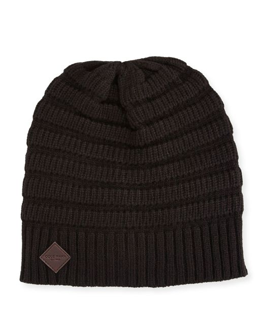 Cole Haan Ottoman Rib Knit Beanie Hat In Black For Men Lyst