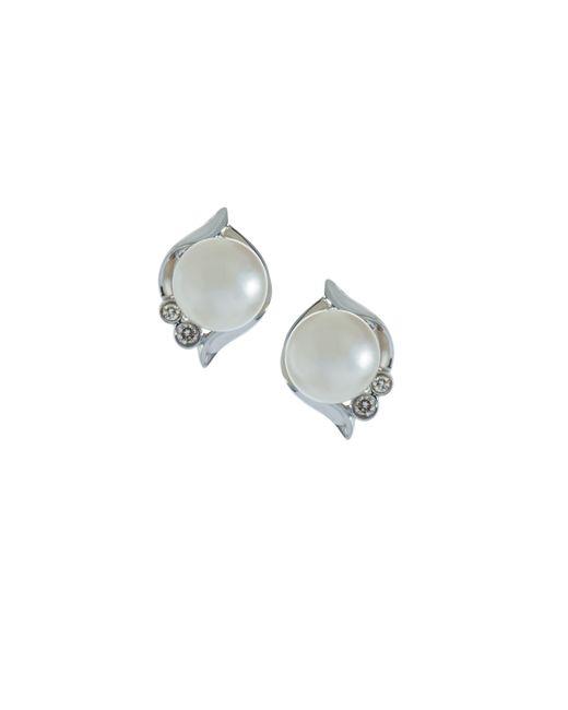 Belpearl | 14k White South Sea Pearl & Diamond Stud Earrings | Lyst