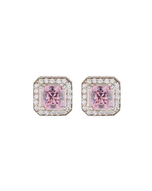 Fantasia by Deserio - Pink Octagonal Pave Crystal Stud Earrings - Lyst