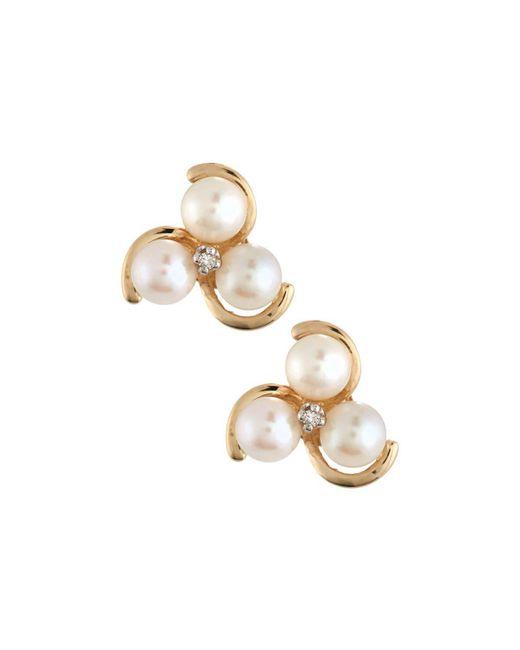 Belpearl   Metallic 14k Akoya Pearl & Diamond Stud Earrings   Lyst