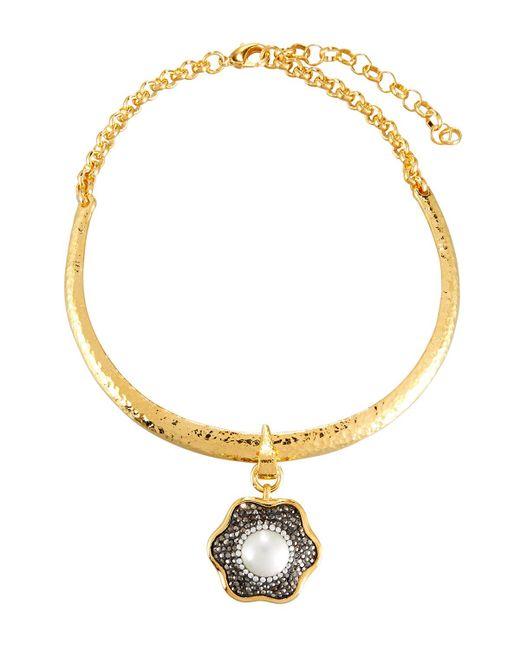 Jose & Maria Barrera | Metallic Hammered Collar Necklace W/ Floral Crystal Pendant | Lyst