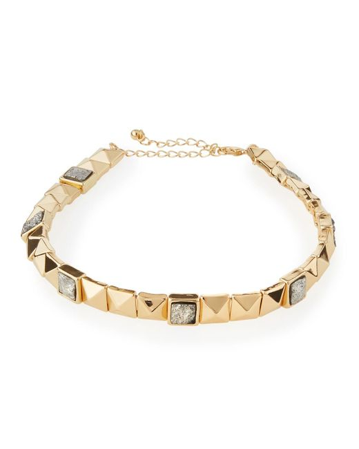 Panacea | Gray Golden Studded Druzy Collar Necklace | Lyst