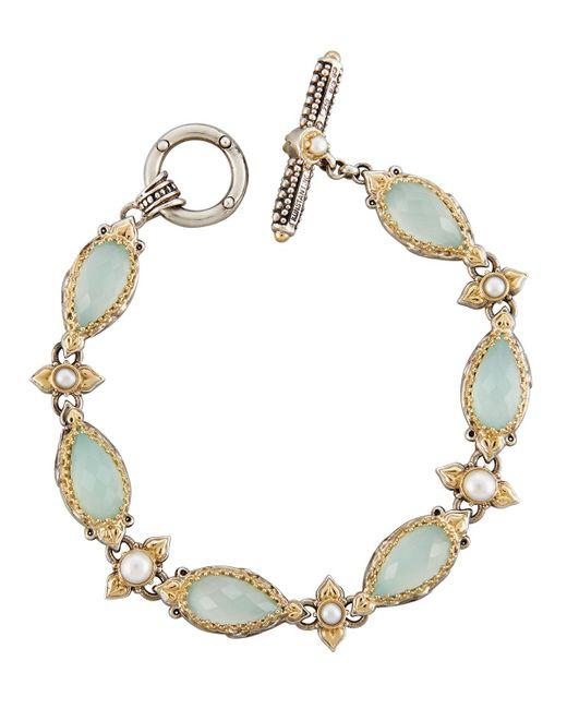 Konstantino | Blue Amphitrite Agate & Pearl Station Bracelet | Lyst
