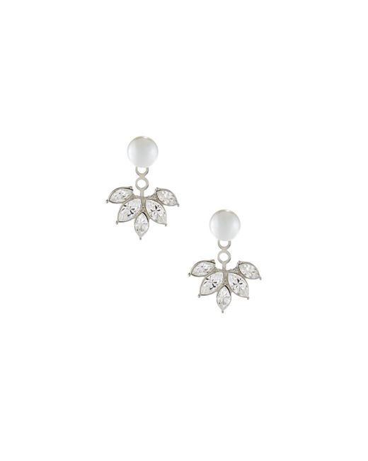 Kenneth Jay Lane | White Pearly Bead & Marquis Crystal Jacket Earrings | Lyst