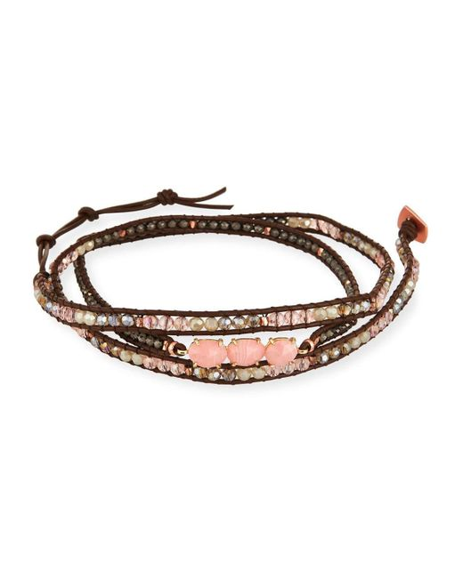 Nakamol | Pink Beaded Leather Wrap Bracelet | Lyst