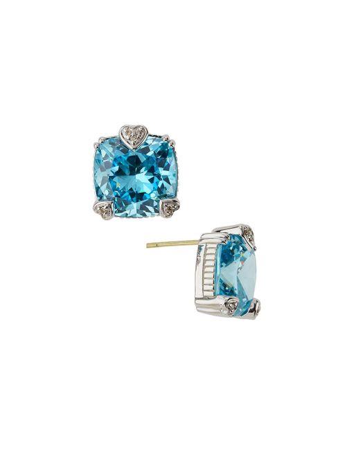 Judith Ripka | Blue Fontaine Cushion-cut Crystal Button Earrings | Lyst