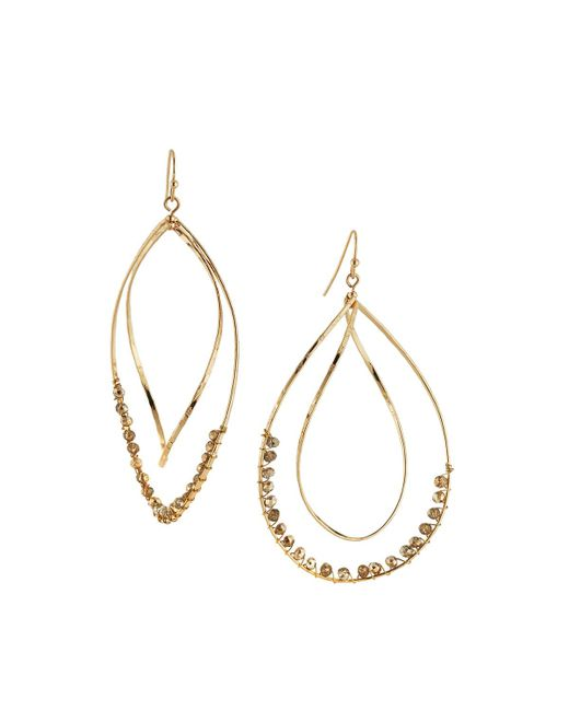 Panacea | Metallic Twisted Teardrop Crystal Drop Earrings | Lyst