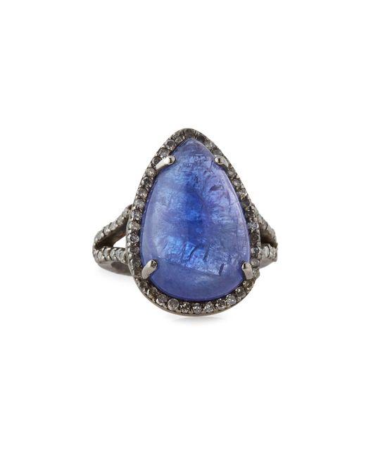 Teardrop Tanzanite: Bavna Tanzanite & Diamond Teardrop Cocktail Ring In Blue