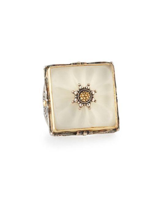 Konstantino | Metallic Square Crystal Flower Statement Ring | Lyst