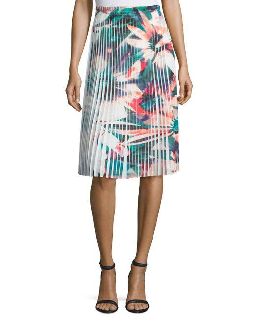 Nicole Miller | Blue Pleated Floral-print Skirt | Lyst
