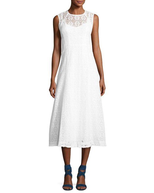 Nanette Lepore Fringed Hem Lace Frock Dress In White Lyst