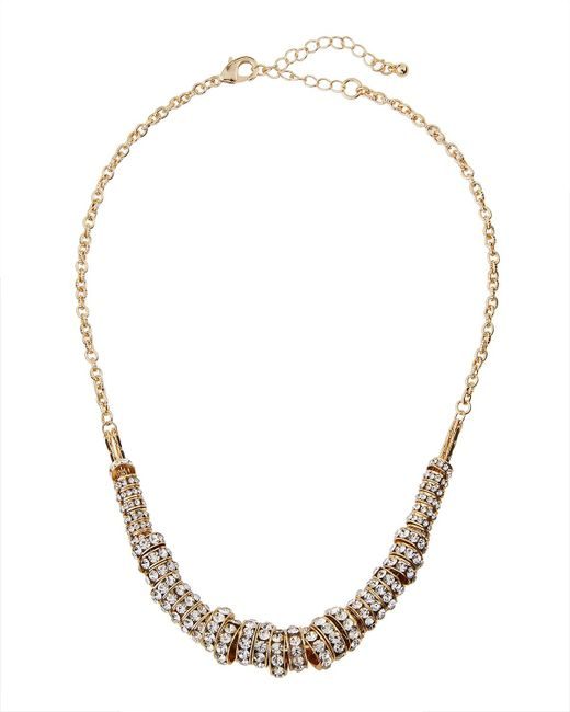 Fragments | Metallic Pave Crystal Ring Necklace | Lyst