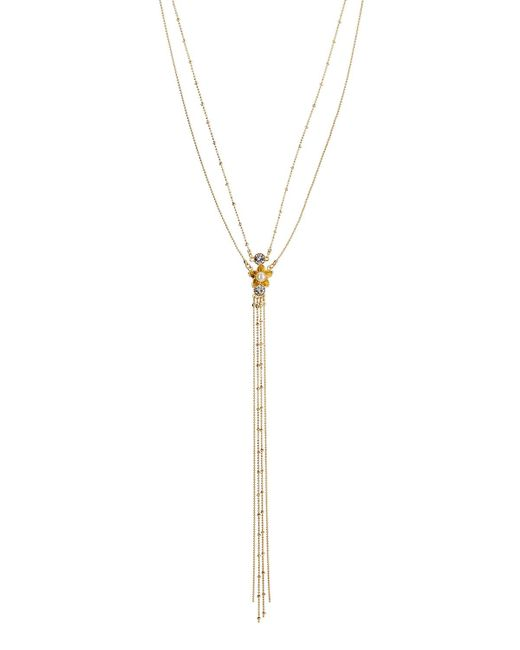 Fragments | Metallic Flower Layered Lariat Necklace | Lyst