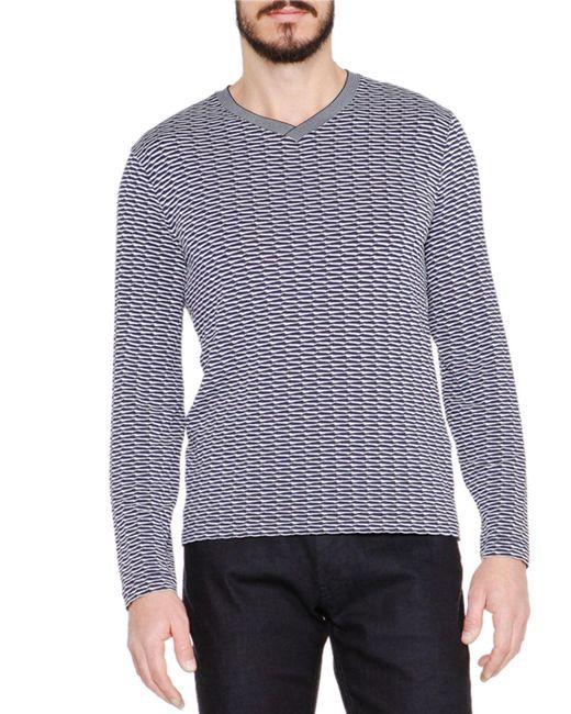 Giorgio Armani   Blue Wave-print Long-sleeve Tee for Men   Lyst