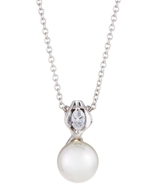 Majorica   White 12mm Simulated Pearl & Crystal Pendant Necklace   Lyst