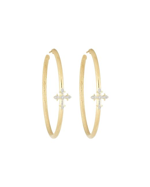 Jude Frances | Metallic 18k Fleur Cross Pave Diamond Large Hoop Earrings | Lyst