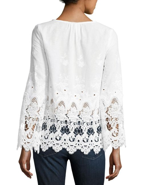 Liv los angeles lace trim embroidered blouse in black lyst