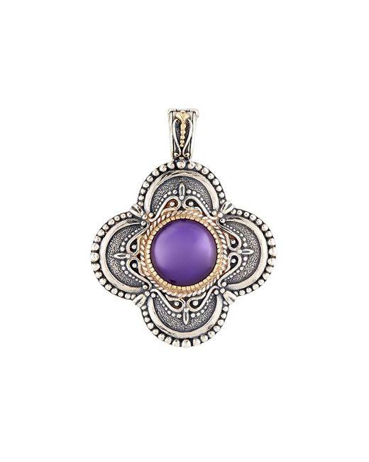 Konstantino | Purple Erato Amethyst Doublet Rounded Cross Pendant Enhancer | Lyst