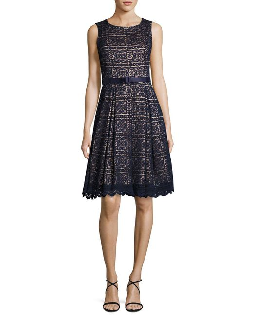 eliza j fit and flare belted lace dress in blue lyst